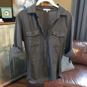 James Perse fitted Cotton Utility Shirt  sz 2